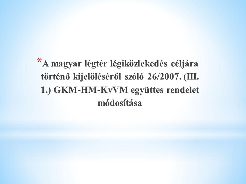 A magyar légtér légiközlekedés céljára történő kijelöléséről szóló 26/2007.