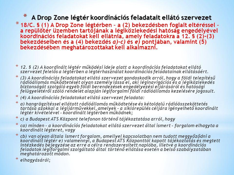 A Drop Zone légtér koordinációs feladatait ellátó szervezet