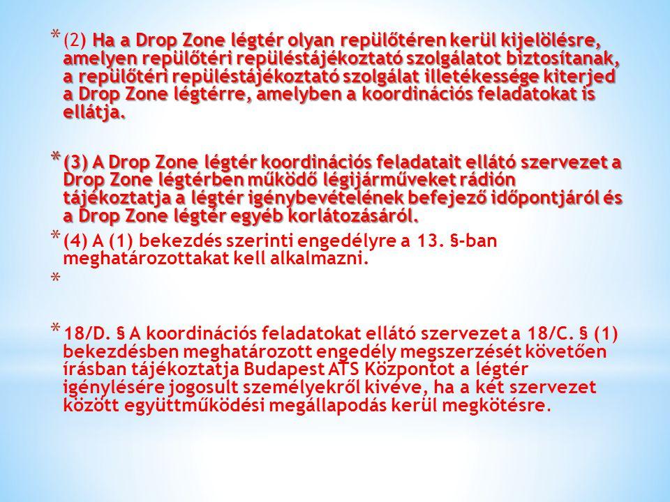 (2) Ha a Drop Zone légtér olyan repülőtéren kerül kijelölésre, amelyen repülőtéri repüléstájékoztató szolgálatot biztosítanak, a repülőtéri repüléstájékoztató szolgálat illetékessége kiterjed a Drop Zone légtérre, amelyben a koordinációs feladatokat is ellátja.