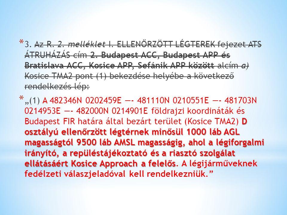 3. Az R. 2. melléklet I. ELLENŐRZÖTT LÉGTEREK fejezet ATS ÁTRUHÁZÁS cím 2. Budapest ACC, Budapest APP és Bratislava ACC, Kosice APP, Sefánik APP között alcím a) Kosice TMA2 pont (1) bekezdése helyébe a következő rendelkezés lép: