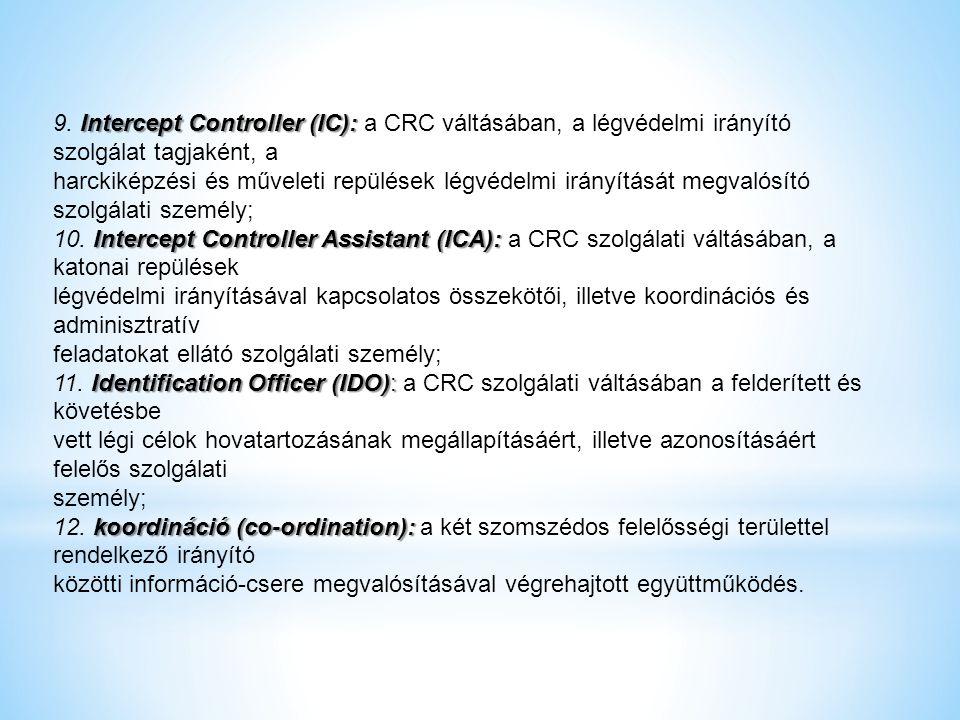 9. Intercept Controller (IC): a CRC váltásában, a légvédelmi irányító szolgálat tagjaként, a