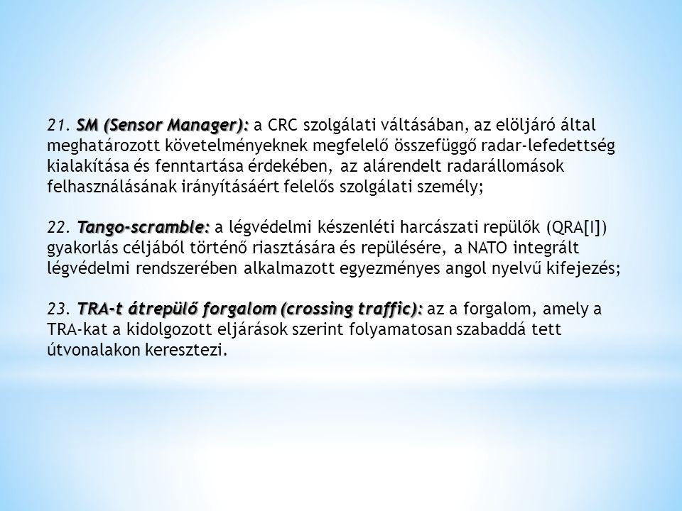 21. SM (Sensor Manager): a CRC szolgálati váltásában, az elöljáró által meghatározott követelményeknek megfelelő összefüggő radar-lefedettség kialakítása és fenntartása érdekében, az alárendelt radarállomások felhasználásának irányításáért felelős szolgálati személy;