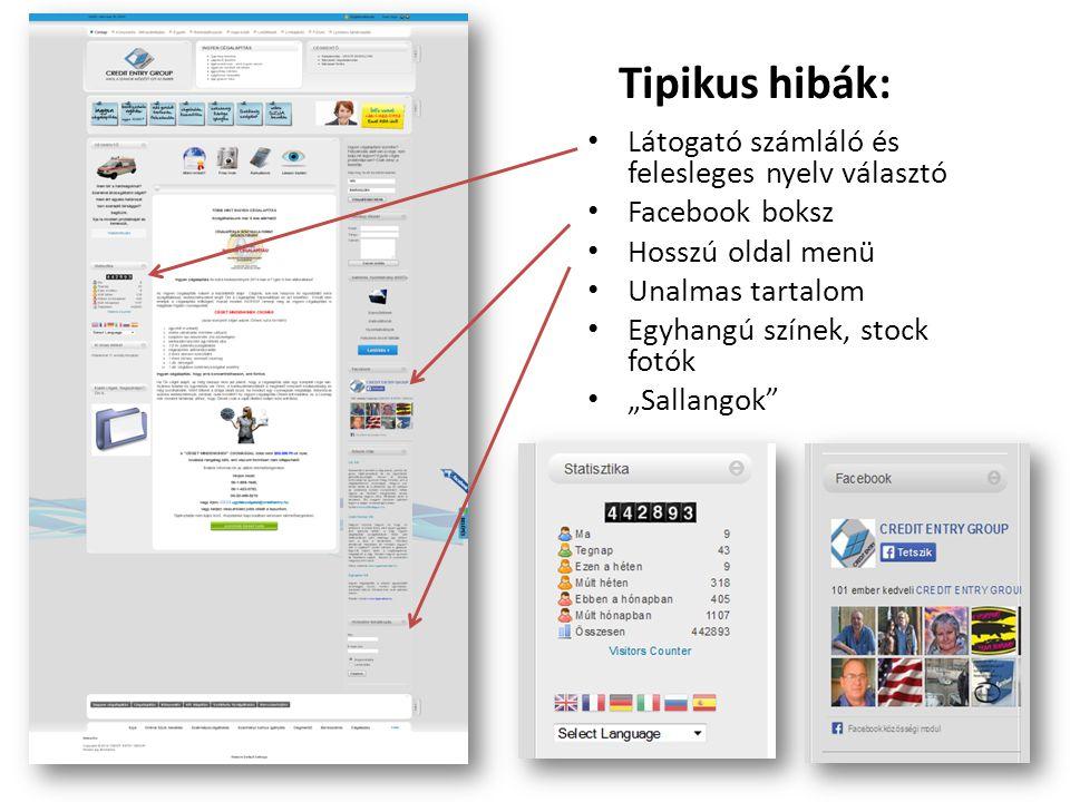 Tipikus hibák: Látogató számláló és felesleges nyelv választó