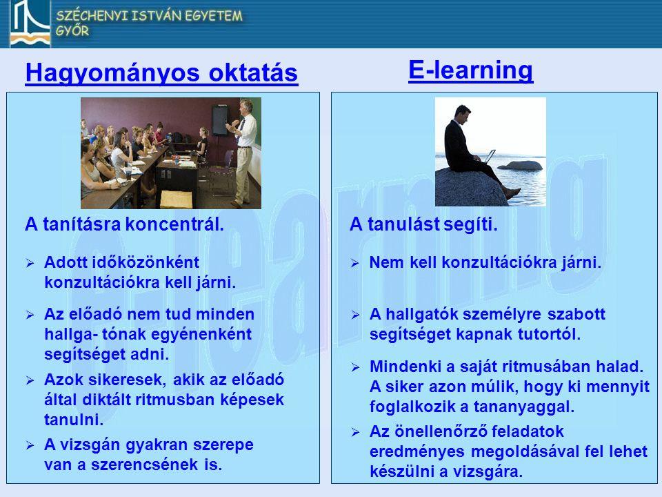 E-learning Hagyományos oktatás A tanításra koncentrál.