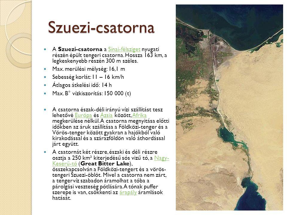 Szuezi-csatorna A Szuezi-csatorna a Sínai-félsziget nyugati részén épült tengeri csatorna. Hossza 163 km, a legkeskenyebb részén 300 m széles.