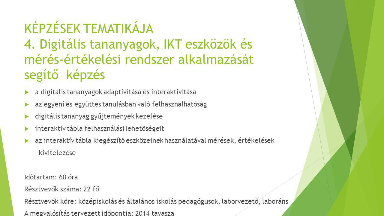 KÉPZÉSEK TEMATIKÁJA 4. Digitális tananyagok, IKT eszközök és mérés-értékelési rendszer alkalmazását segítő képzés