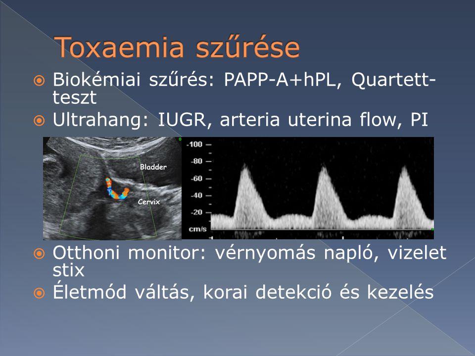 Toxaemia szűrése Biokémiai szűrés: PAPP-A+hPL, Quartett-teszt