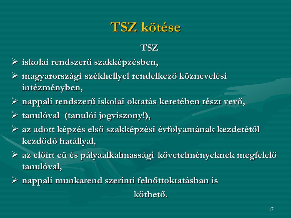 TSZ kötése TSZ iskolai rendszerű szakképzésben,