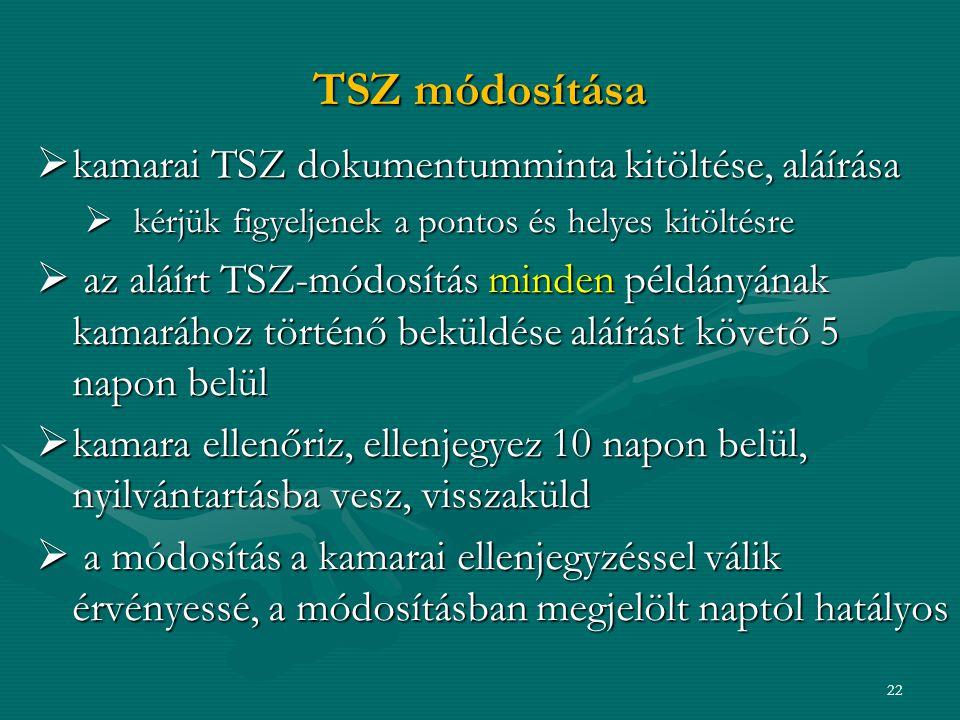TSZ módosítása kamarai TSZ dokumentumminta kitöltése, aláírása
