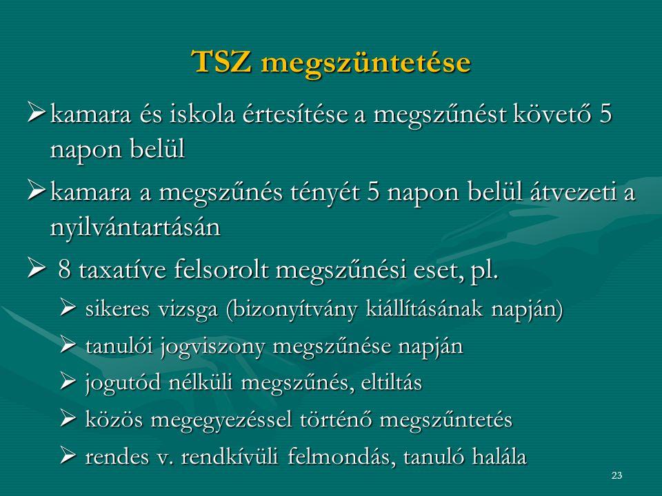 TSZ megszüntetése kamara és iskola értesítése a megszűnést követő 5 napon belül. kamara a megszűnés tényét 5 napon belül átvezeti a nyilvántartásán.