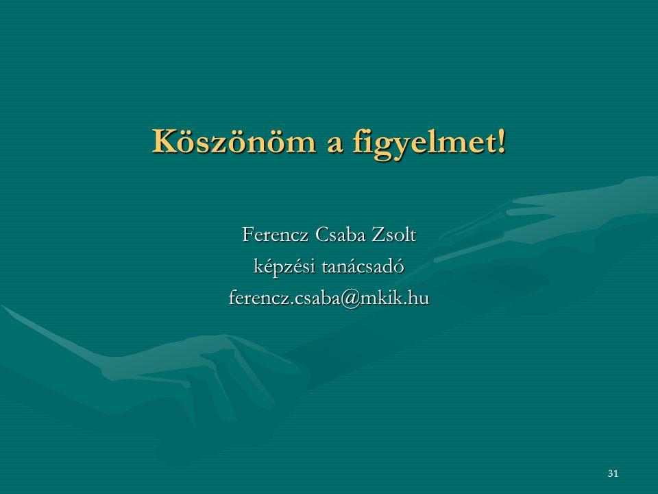 Köszönöm a figyelmet! Ferencz Csaba Zsolt képzési tanácsadó