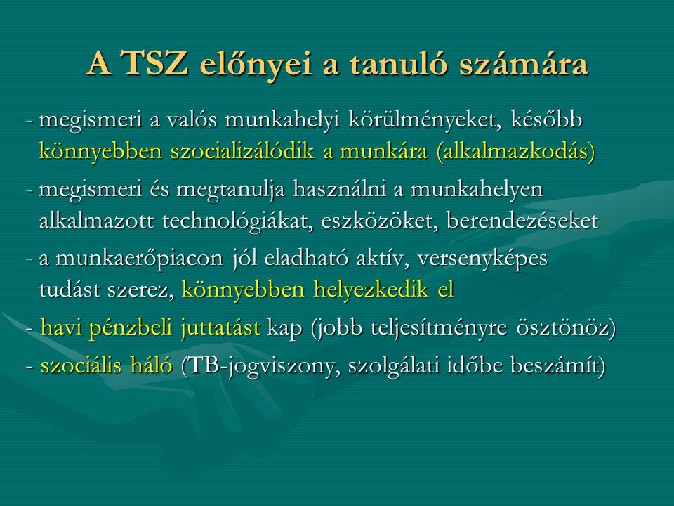 A TSZ előnyei a tanuló számára