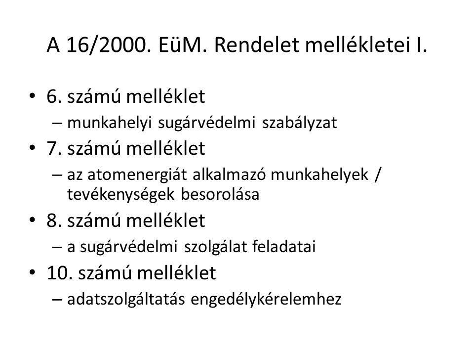 A 16/2000. EüM. Rendelet mellékletei I.