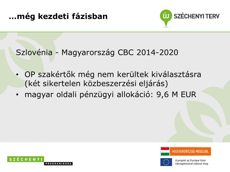 …még kezdeti fázisban Szlovénia - Magyarország CBC 2014-2020. OP szakértők még nem kerültek kiválasztásra (két sikertelen közbeszerzési eljárás)