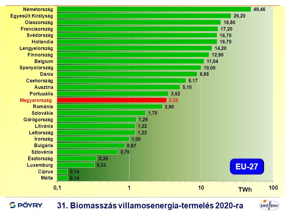 31. Biomasszás villamosenergia-termelés 2020-ra