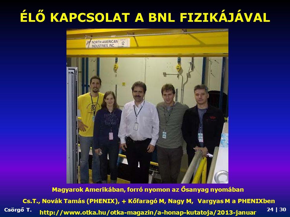 ÉLŐ KAPCSOLAT a BNL fizikájával