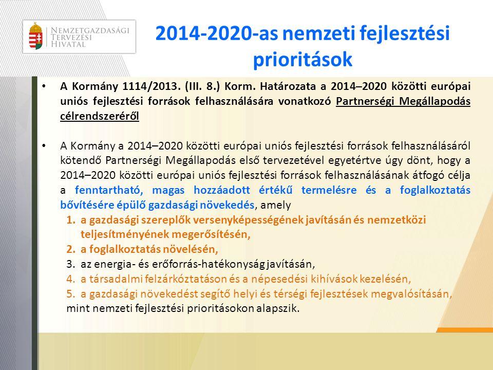 2014-2020-as nemzeti fejlesztési prioritások