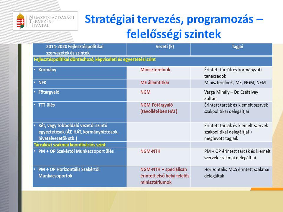 Stratégiai tervezés, programozás – felelősségi szintek