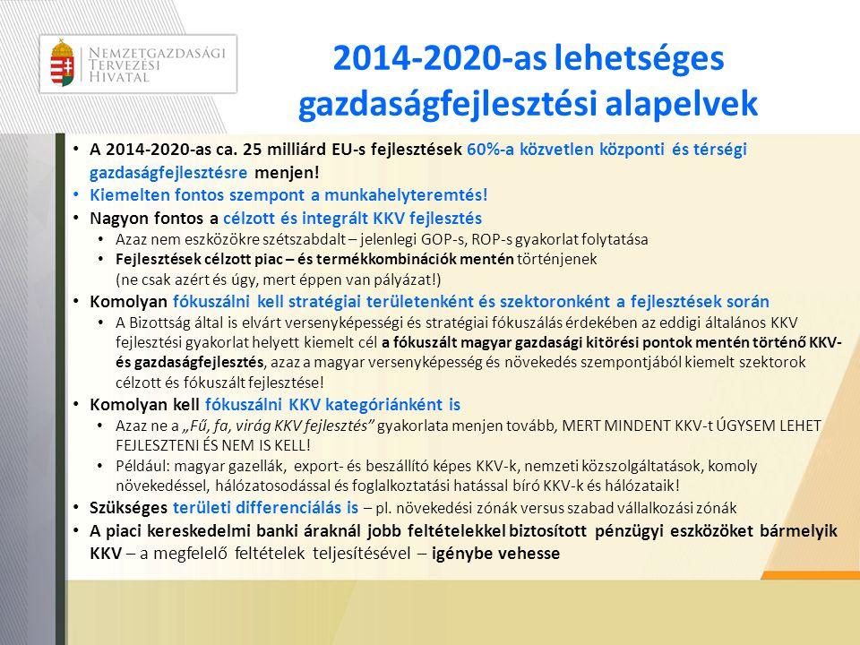 2014-2020-as lehetséges gazdaságfejlesztési alapelvek