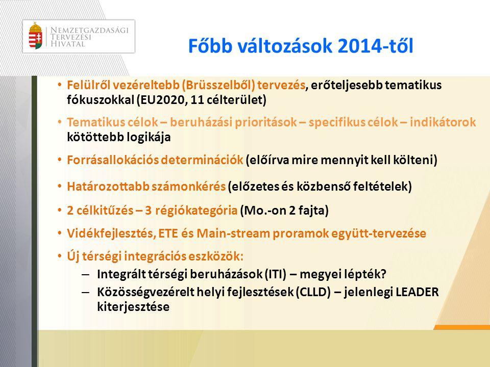 Főbb változások 2014-től Felülről vezéreltebb (Brüsszelből) tervezés, erőteljesebb tematikus fókuszokkal (EU2020, 11 célterület)