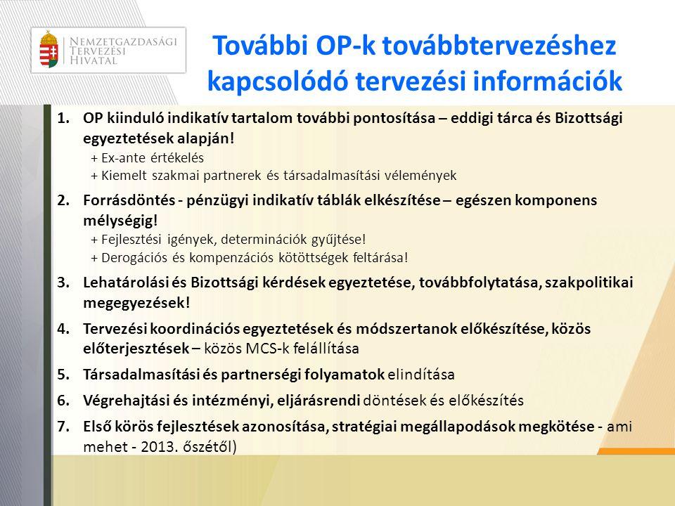 További OP-k továbbtervezéshez kapcsolódó tervezési információk