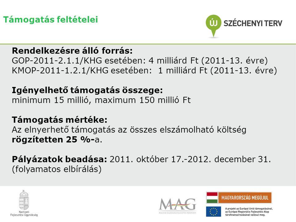 Támogatás feltételei Rendelkezésre álló forrás: GOP-2011-2.1.1/KHG esetében: 4 milliárd Ft (2011-13. évre)