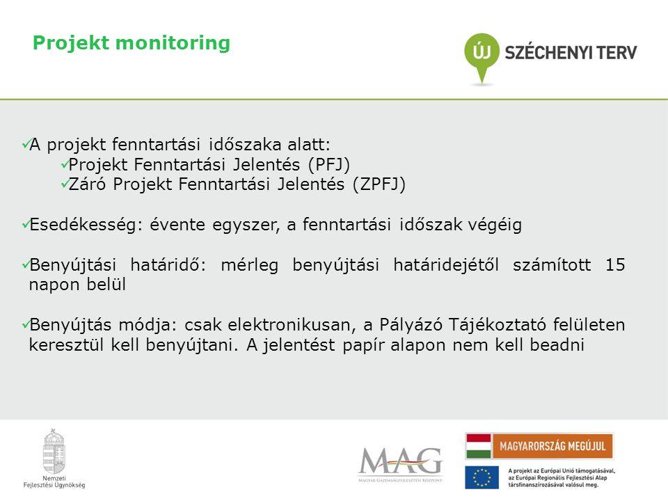 Projekt monitoring A projekt fenntartási időszaka alatt: