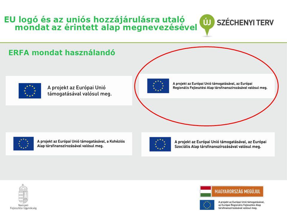 EU logó és az uniós hozzájárulásra utaló mondat az érintett alap megnevezésével