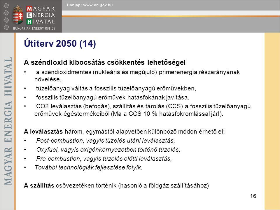 Útiterv 2050 (14) A széndioxid kibocsátás csökkentés lehetőségei