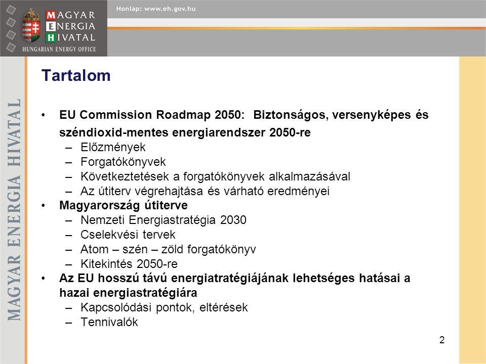 Tartalom EU Commission Roadmap 2050: Biztonságos, versenyképes és széndioxid-mentes energiarendszer 2050-re.