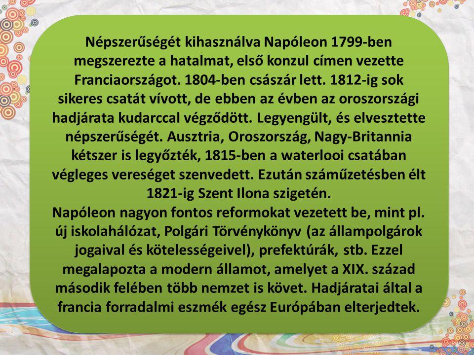 Népszerűségét kihasználva Napóleon 1799-ben megszerezte a hatalmat, első konzul címen vezette Franciaországot. 1804-ben császár lett. 1812-ig sok sikeres csatát vívott, de ebben az évben az oroszországi hadjárata kudarccal végződött. Legyengült, és elvesztette népszerűségét. Ausztria, Oroszország, Nagy-Britannia kétszer is legyőzték, 1815-ben a waterlooi csatában végleges vereséget szenvedett. Ezután száműzetésben élt 1821-ig Szent Ilona szigetén.