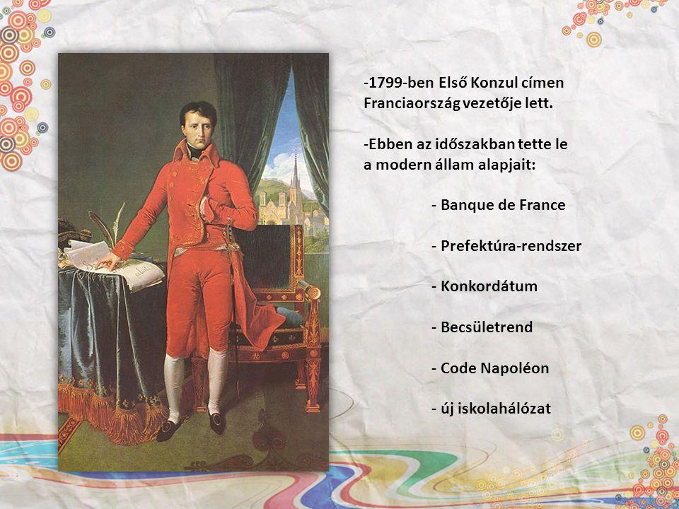 1799-ben Első Konzul címen Franciaország vezetője lett. Ebben az időszakban tette le. a modern állam alapjait: