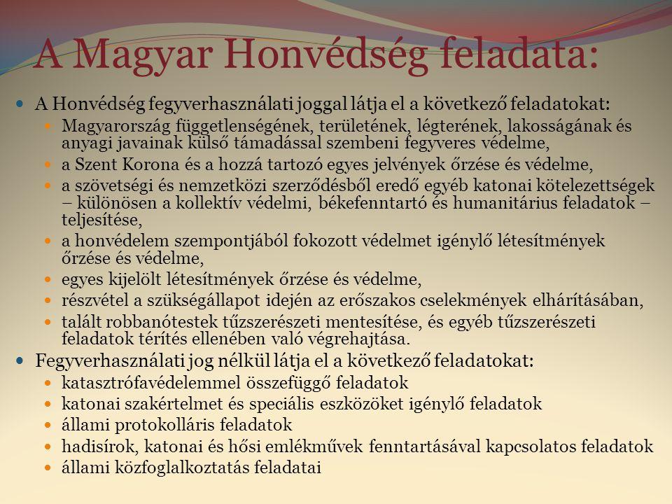 A Magyar Honvédség feladata: