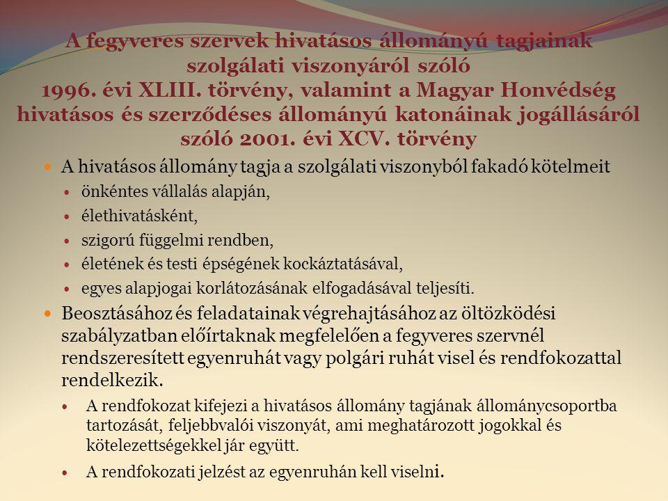 A fegyveres szervek hivatásos állományú tagjainak szolgálati viszonyáról szóló 1996. évi XLIII. törvény, valamint a Magyar Honvédség hivatásos és szerződéses állományú katonáinak jogállásáról szóló 2001. évi XCV. törvény