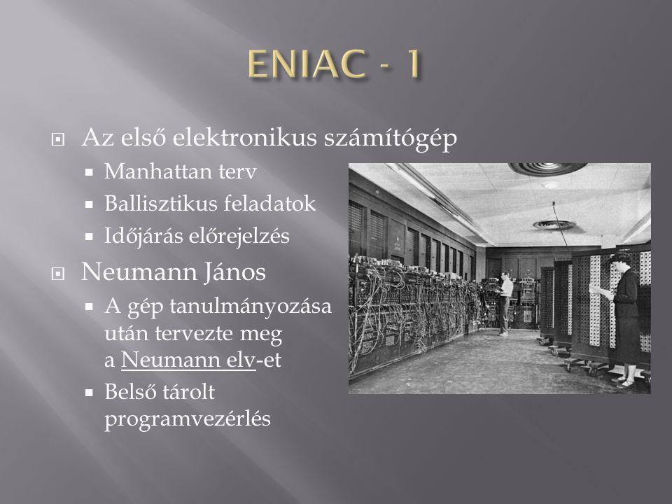 ENIAC - 1 Az első elektronikus számítógép Neumann János Manhattan terv