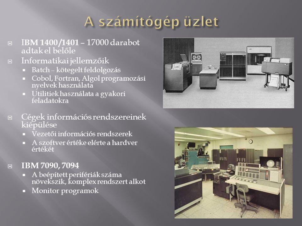 A számítógép üzlet IBM 1400 /1401 – 17000 darabot adtak el belőle