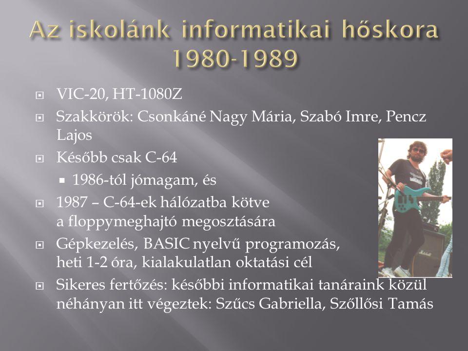 Az iskolánk informatikai hőskora 1980-1989