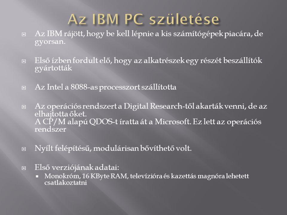 Az IBM PC születése Az IBM rájött, hogy be kell lépnie a kis számítógépek piacára, de gyorsan.