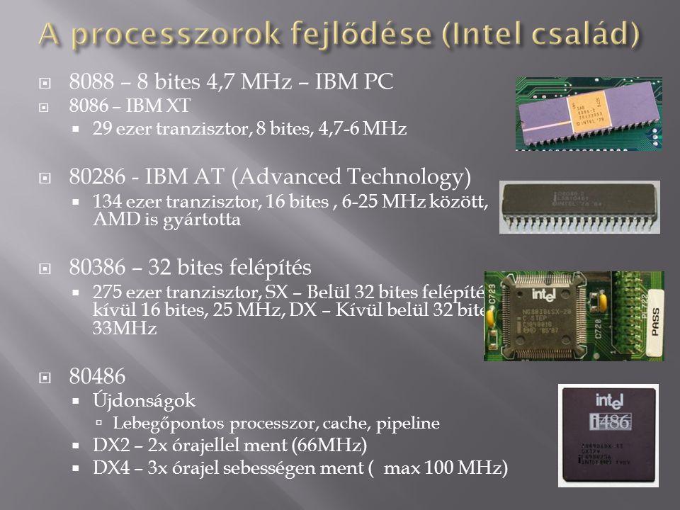 A processzorok fejlődése (Intel család)