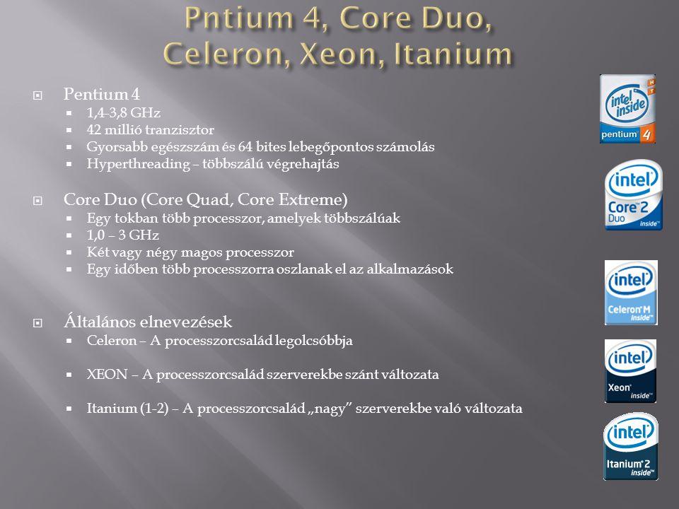 Pntium 4, Core Duo, Celeron, Xeon, Itanium