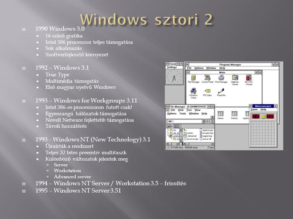 Windows sztori 2 1990 Windows 3.0 1992 – Windows 3.1