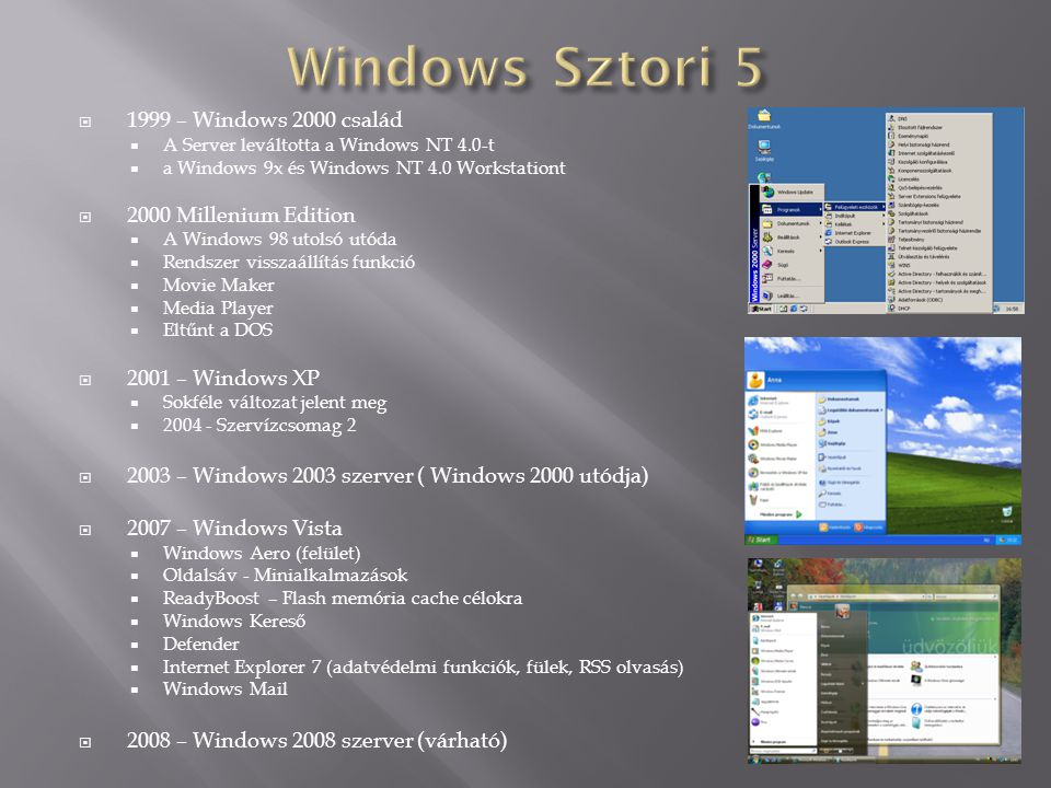 Windows Sztori 5 1999 – Windows 2000 család 2000 Millenium Edition