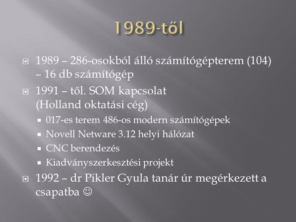 1989-től 1989 – 286-osokból álló számítógépterem (104) – 16 db számítógép. 1991 – től. SOM kapcsolat (Holland oktatási cég)