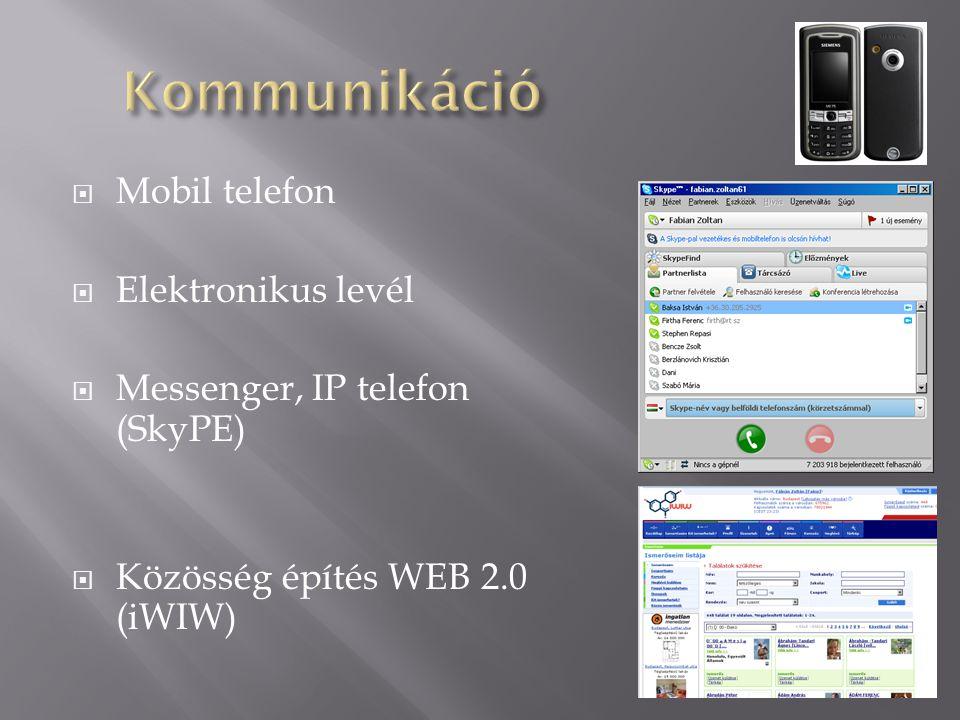 Kommunikáció Mobil telefon Elektronikus levél