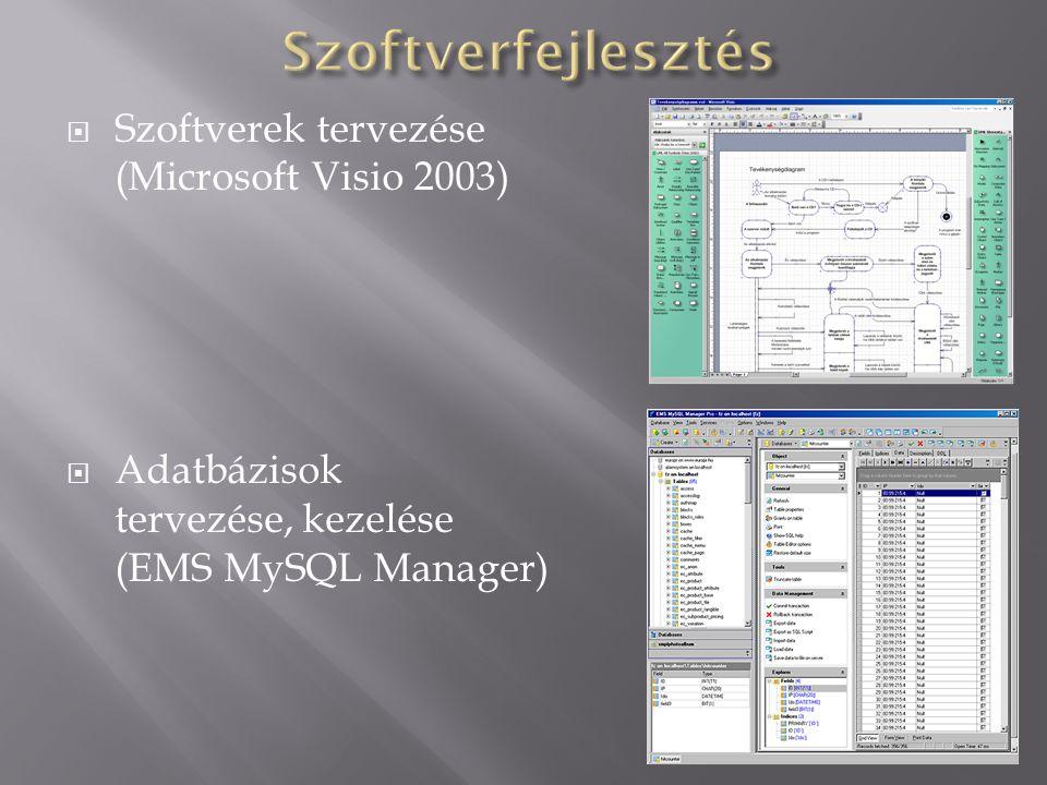 Szoftverfejlesztés Szoftverek tervezése (Microsoft Visio 2003)