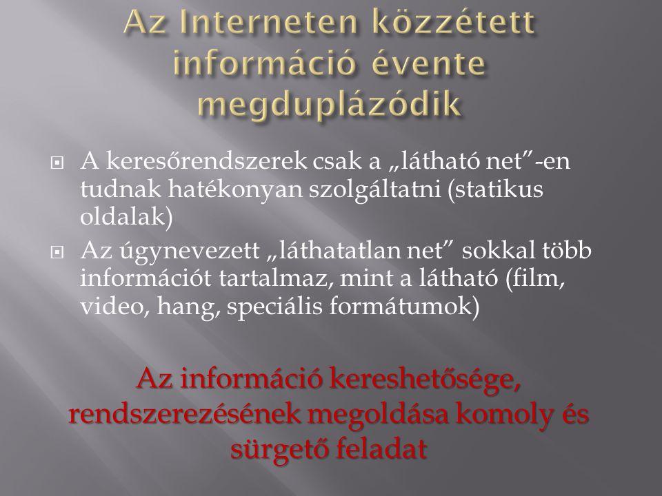 Az Interneten közzétett információ évente megduplázódik