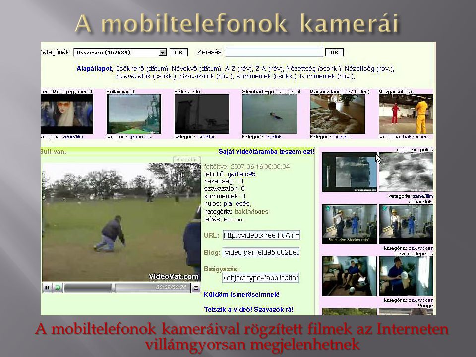 A mobiltelefonok kamerái