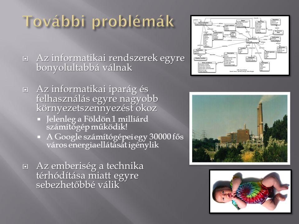 További problémák Az informatikai rendszerek egyre bonyolultabbá válnak.