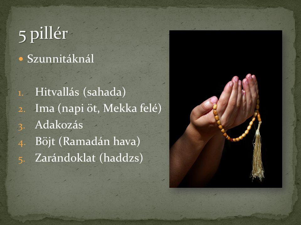 5 pillér Szunnitáknál Hitvallás (sahada) Ima (napi öt, Mekka felé)