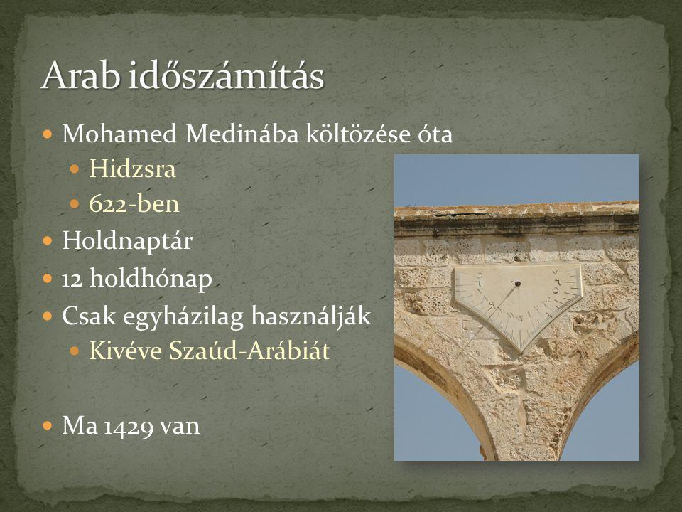 Arab időszámítás Mohamed Medinába költözése óta Hidzsra 622-ben